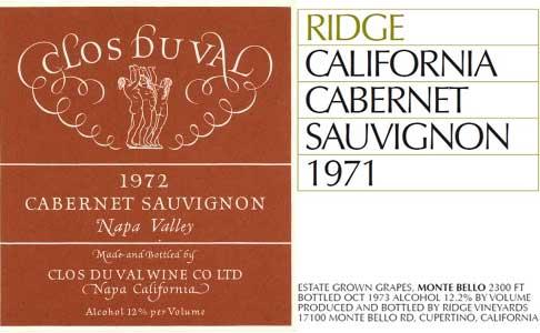 Clos Du Val 1972 and Ridge Monte Bello 1971