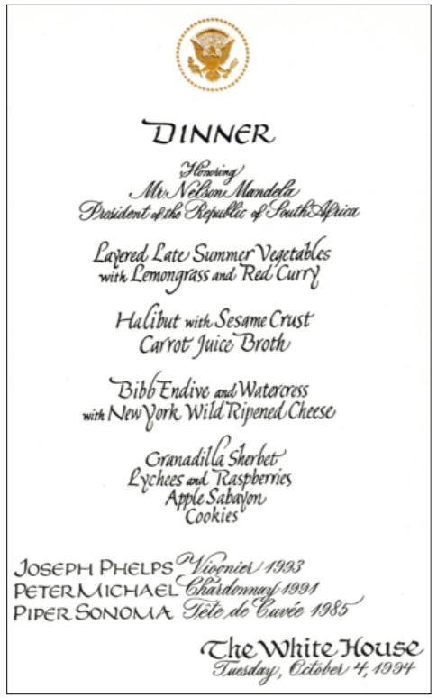 1994 The White House State Dinner Menu