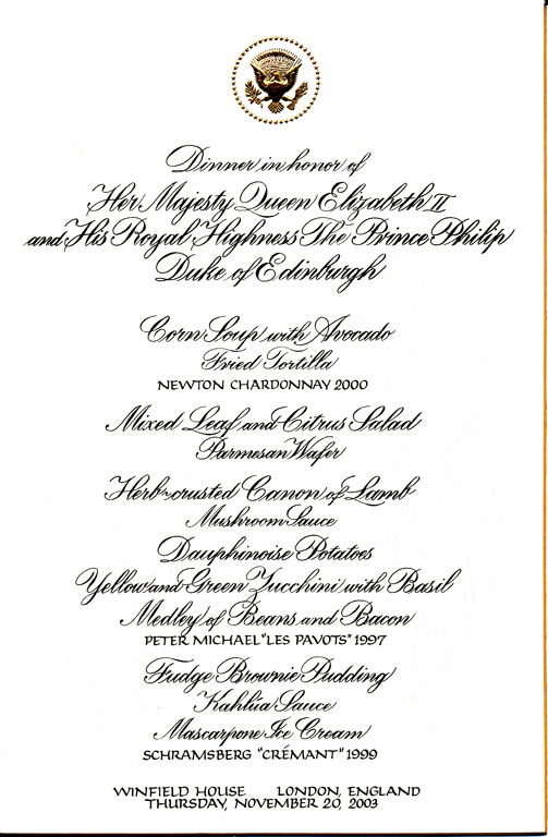 2003 whitehouse dinner menu