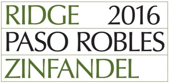PASO ROBLES ZINFANDEL 2016