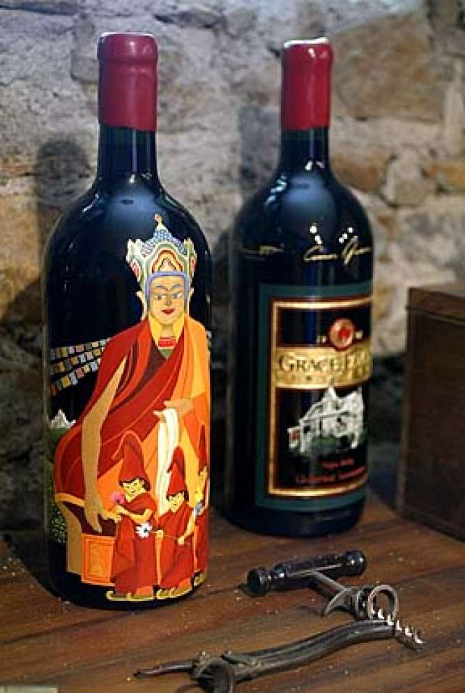 Grace Family Vineyards Cabernet Sauvignon etching bottle