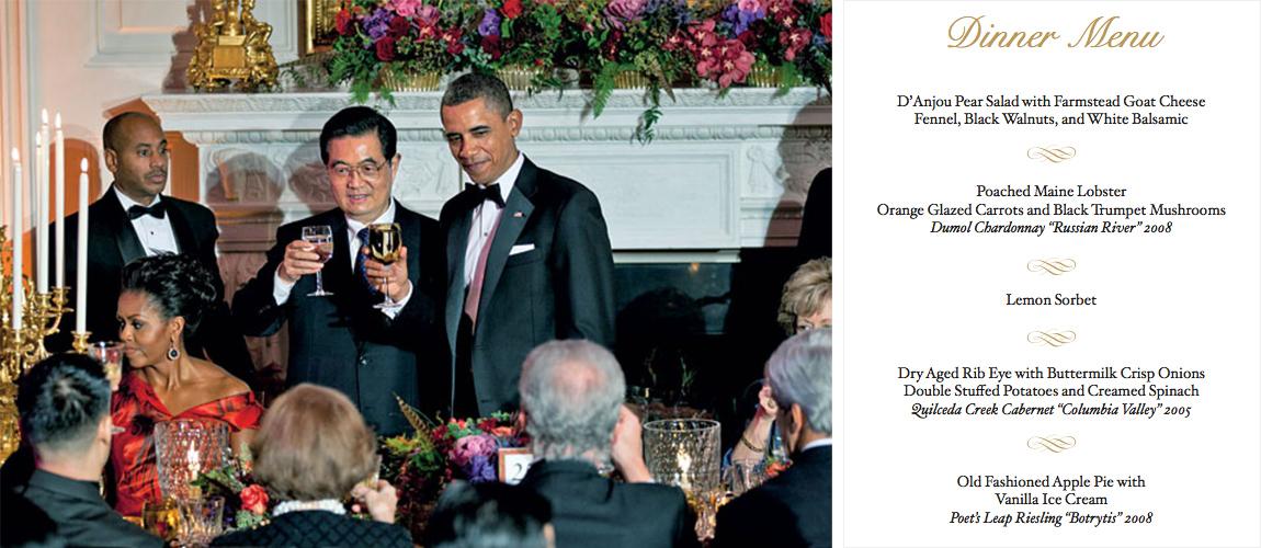White House State Dinner 2011,White House State Dinner Menu