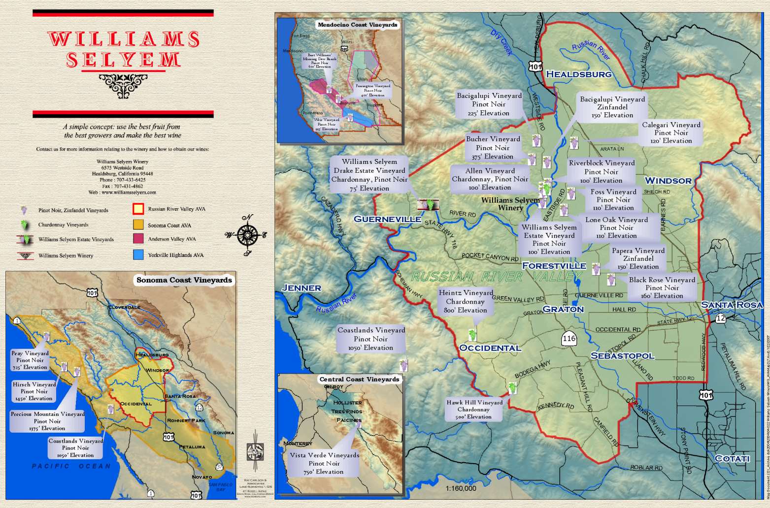 Williams Selyem Vineyard Map