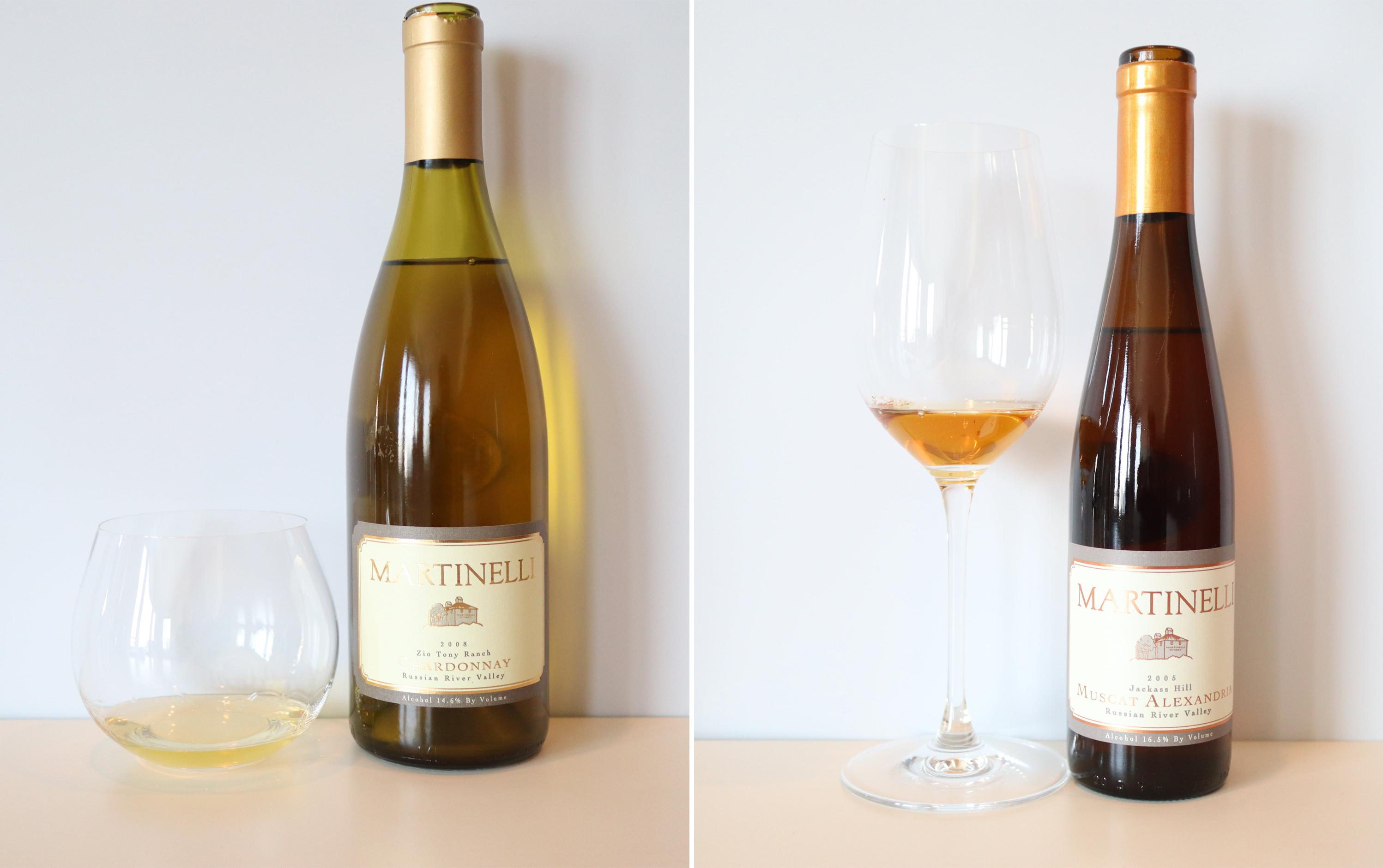 Martinelli Chardonnay Zio Tony Ranch 2008 , Martinelli Muscat Alexandria Jackass Hill 2005